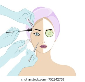 Young beautiful girl with mask. Beauty skincare and cosmetology. Beauty and freshness of the woman face vector illustration.