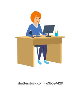 Young, beautiful girl - office worker, in strict clothes, working at the computer in the cabinet. Modern vector illustration isolated in cartoon style.
