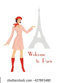 the young beautiful girl in a raincoat and a beret points to the Eiffel Tower