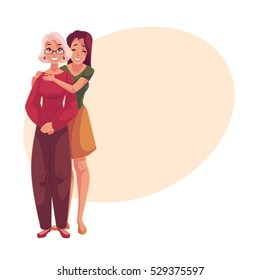 Young beautiful granddaughter hugging grandmother, cartoon vector illustration on background with place for text. Full length portrait of young woman hugging her grandma, family connection