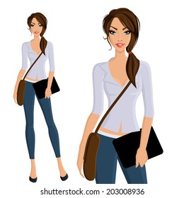 Young beautiful happy girl student with bag and device portrait on outdoor background vector illustration