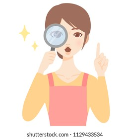 young beautiful housewife with magnifying glass flat style avatar