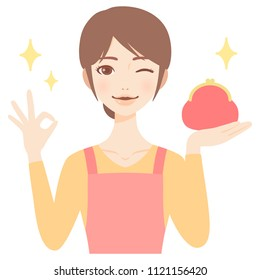 young beautiful housewife with wallet flat style avatar