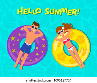 "Young and beautiful man and girl sunbathing and swimming in the pool on an air mattress, an inflatable circle on the background of the water. The concept of vacation and travel. ""hello summer"""