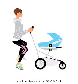 Young beautiful mother doing squat while she walking with a pram. Baby fitness. Vector