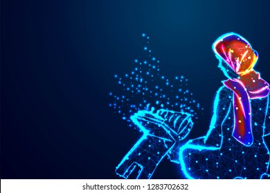 Young beautiful Muslim Woman Praying .dreams soul Asean arabic rise in trust quran to praise heal help health in eid fitr. Abstract wireframe design. From connecting dot and line. Vector Illustration