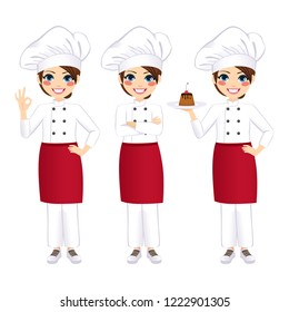 Young beautiful professional happy female chef holding delicious dessert and gesturing ok sign