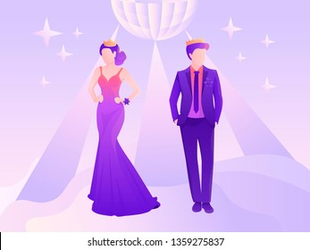 Young and beautiful prom king and queen underr the disco-ball light vector illustration for web and printing.