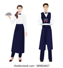 Young beautiful waitress and handsome waiter at restaurant isolated.