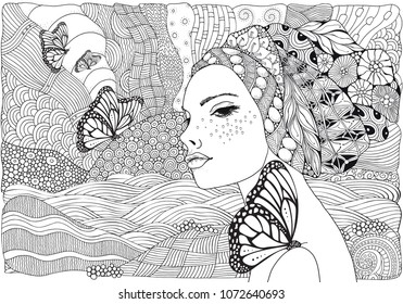 Young beautiful woman and butterfly. Beach, facing out to sea. Black and white doodle coloring book page for adult and children.