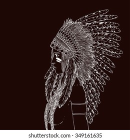 Young beautiful woman in costume of American Indian. Woman with traditional make up and in chief headdress looking to the side. Boho style fashion girl. Vector illustration.