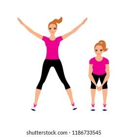 Young beautiful woman doing jump squat. Jamping jack Vector illustration