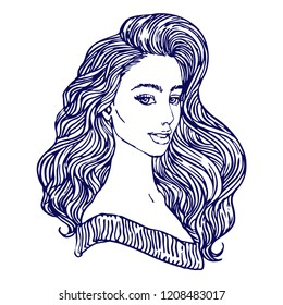 Young beautiful woman face fashion portrait. Elegant girl with long hair line art hand drawn vector illustration for coloring book page.