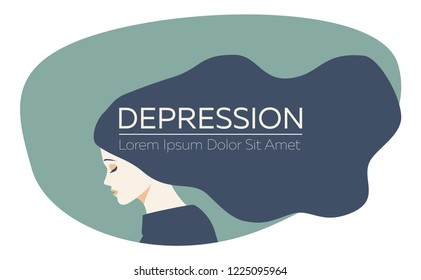 Young beautiful woman with long dark blue hair is in depression. Vector image, flat style, muted cold color palette. Sad girl, place for your text