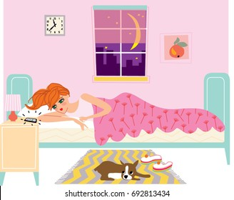 Young beautiful woman lying in the bed and waiting for the phone call at night. Vector illustration.
