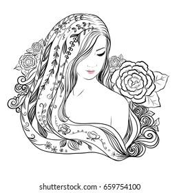 young beautiful woman portrait and abstract flowers and nature. vector illustration