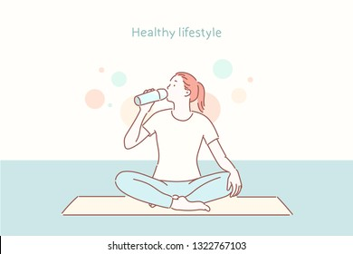 Young beautiful woman practicing yoga and gymnastic. Wellness concept. Classes in single sports. Hand drawn style vector design illustrations.