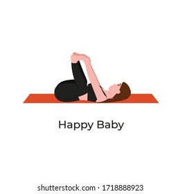 Young beautiful woman practicing yoga in happy baby pose. Flat vector cartoon modern style illustration isolated white background.