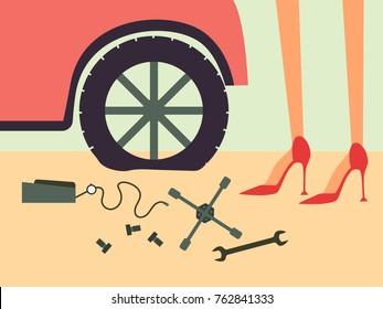 Young beautiful woman in red shoes trying to change the flat tire. Crop image. Vector illustration.