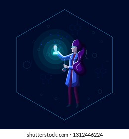 Young beautiful woman scientist holds beakers and performs chemical experiment with glowing solution of luminol in dark laboratory. Female chemist researcher. Modern style cartoon vector illustration.