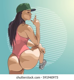 Young beautiful woman show middle finger fuck you sign. Vector illustration