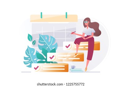 Young beautiful woman silhouette with to do list. Concept girl with visualization business planning online, event. Vector illustration.