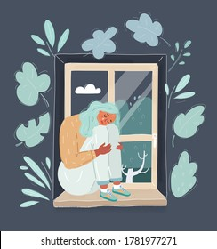 Young beautiful woman sitting alone at the window in gray cold weather crying after breakup with her boyfriend. Vector illustration for relationship crisis, couple separation and marriage breaking up.