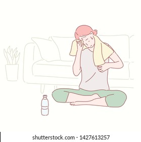 Young beautiful woman suffers from heat stroke, sunstroke, high temperature, sweating, feels dizzy and puts wet towel to her head. Hand drawn style vector design illustrations.