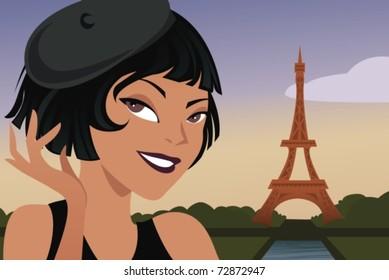 young beautiful woman visiting paris