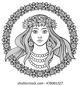 Young beautiful woman in a wreath of flowers on her head, with floral frame. Black and white hand-drawn vector illustration. Coloring page for adults