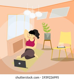 Young beautiful women doing yoga or Exercise Online infront of Laptop, Watching Video Tutorial on Laptop.