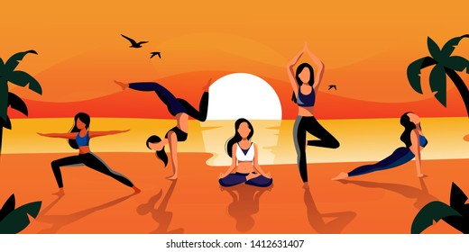 Young beautiful women practicing yoga and meditation on the beach in the morning. Vector flat cartoon illustration. Outdoor summer fitness workout and healthy lifestyle.
