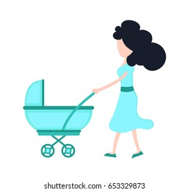 Young beauty mother mom with child baby in a stroller. Vector flat cartoon character illustration modern style icon design. Isolated on white background