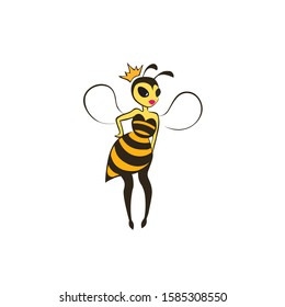 Young bee in a trendy striped dress and crow. A beautiful wasp princess with wings stands resting her hand on her side.Teenager girl with pink lips and big black eyes. Isolated vector black and yellow