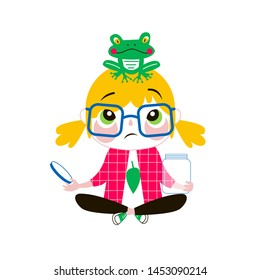Young biologist flat vector illustration. Talented creative kid in glasses with frog, exploring nature isolated cartoon character on white background. Schoolgirl hobby, school lesson drawing