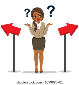 Young black African American businesswoman with confused face expression doubting direction choice concept
