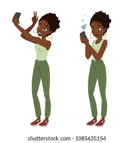 Young black african girl takes selfie and publishes a photo on social networks. Character design. Two woman poses with a smartphone.