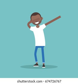 Young black character making DAB dance / flat editable vector illustration, clip art