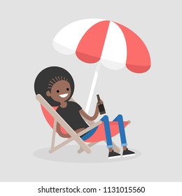 Young black character sitting in a chaise lounge under the beach umbrella  and drinking beer. Vacation. Summer. Weekend. Outdoor. Flat editable vector illustration, clip art