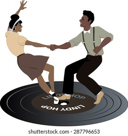 Young black couple dressed in late 1940s early 1950s fashion dancing lindy hop on a vinyl record, vintage color palette, no transparencies, EPS 8