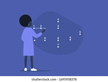 Young black female character connecting the dots, step by step strategic plan, problem solving