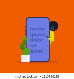 Young black female character peeping out from behind the smartphone. Presentation. Template. Lorem ipsum. Your text here. Flat editable vector illustration, clip art