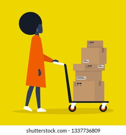 Young black female courier rolling a pushcart. Cargo. Delivery service. Flat editable vector illustration, clip art