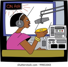 Young black female DJ on the radio with microphone and headphones