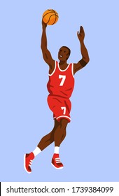 Young black male basketball player wearing a red jersey with the number 7 and jumping to catch a rebound ball. Isolated on blue background editable vector illustration.
