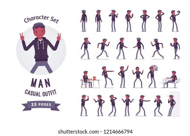 Young black man ready-to-use character set. Millennial boy in dark hoodie, cap, with smartphone, listening to music, phone talking, holding boombox. Full length, different views, gestures, emotions