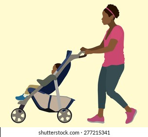 Young Black mother Pushing Toddler in Stroller