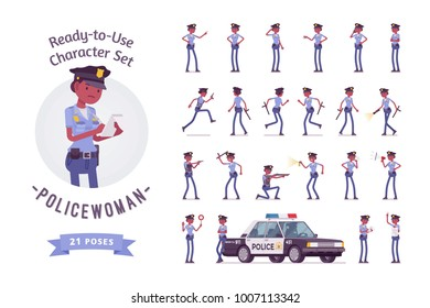 Young black policewoman, female member of police force at duty, ready-to-use character set. Officer in uniform, full length, different views, gestures, emotions, front, rear view. Law, justice concept