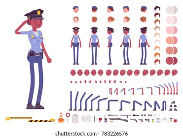 Young black policewoman, female member of a police force character creation set. Full length, different views, emotion, gestures. Build your own design. Cartoon flat style infographic illustration
