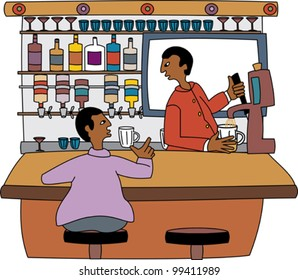 Young black professional barkeeper with client at the bar